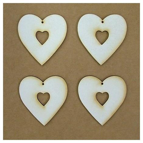 Chipboard - szív a szívben (5 cm)