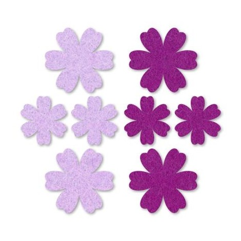 Felt flowers - purple