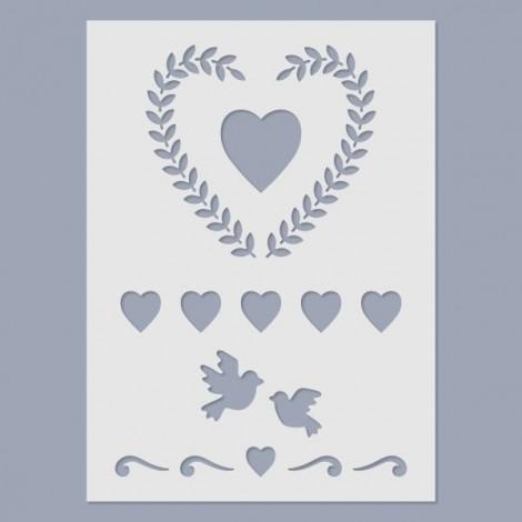 Stencil - Szív koszorú