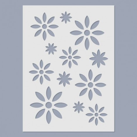 Stencil - Retro flowers