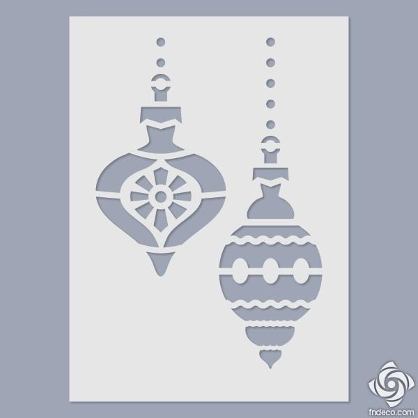 Stencil - Christmas Tree Ornaments