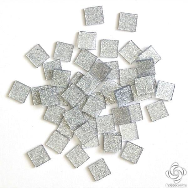 Acrylic glitter mosaic, silver