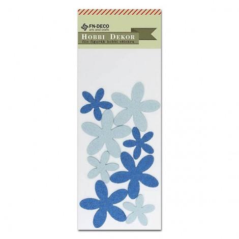 Felt flowers - blue