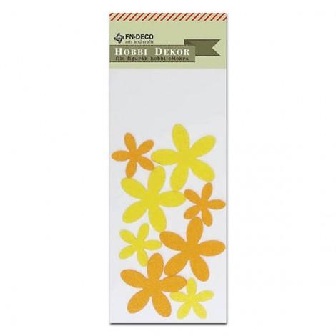 Filc virágok - sárga-narancs