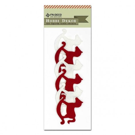 Felt rocking horses - cream-red