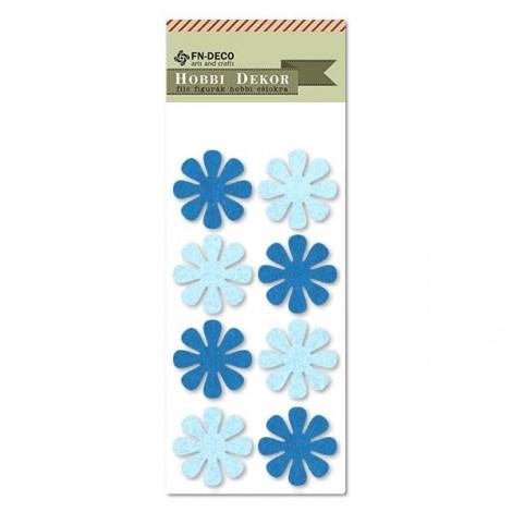 Filc virágok - kék