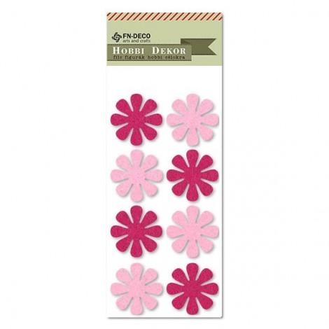 Felt flowers - pink