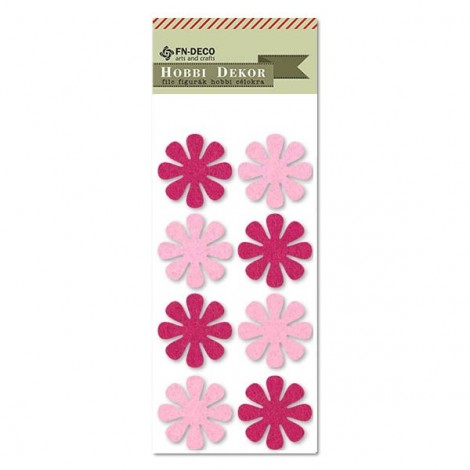 Filc virágok - rózsaszín