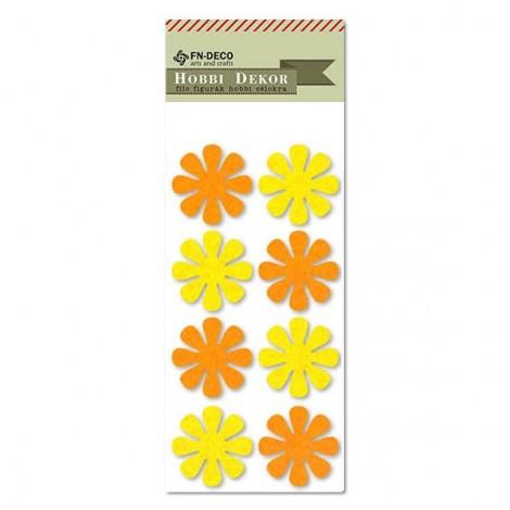 Filc virágok - sárga