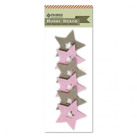 Filc csillag - szürke-rózsaszín