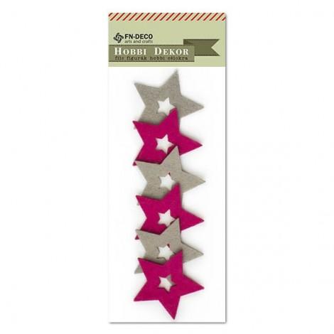 Filc csillag - szürke-ciklámen