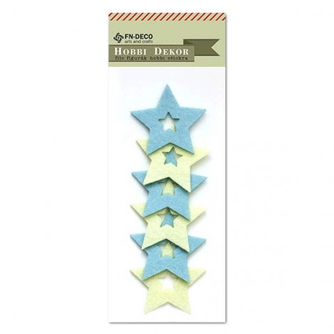Felt stars - cream-light blue