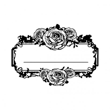 Clear Stamp - Label with roses