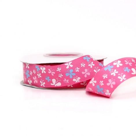 Mintás szalag, pillangó, pink