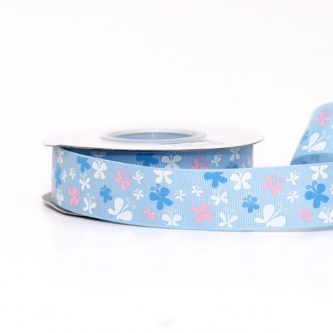 Patterned ribbon, blue