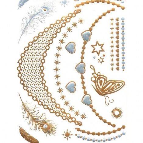 Metalic Flash Tattoos - chains, bracelets 03