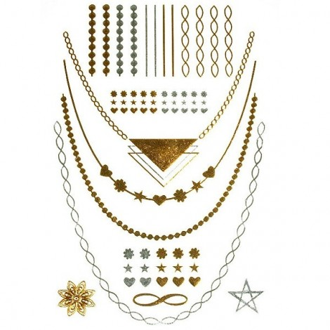 Metalic Flash Tattoos - chains, bracelets 04
