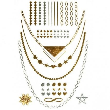 Metalic Flash Tattoos - chains, bracelets 04