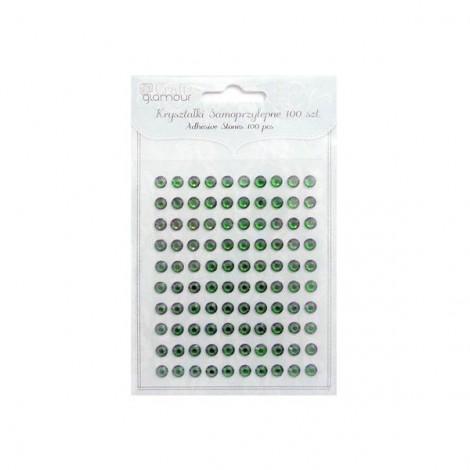 Öntapadós műanyag strasszkő, zöld