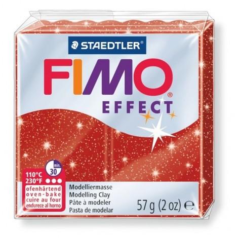 FIMO EFFECT - süthető gyurma, 57g - csillámos piros
