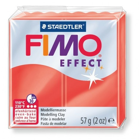 FIMO EFFECT - oven-safe clay, 57g - translucent colour red