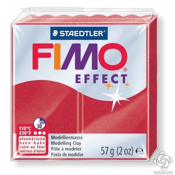 FIMO EFFECT - oven-safe clay, 57g - metallic colour ruby red
