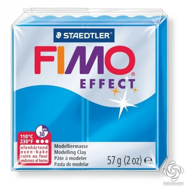 FIMO EFFECT - oven-safe clay, 57g - translucent colour blue