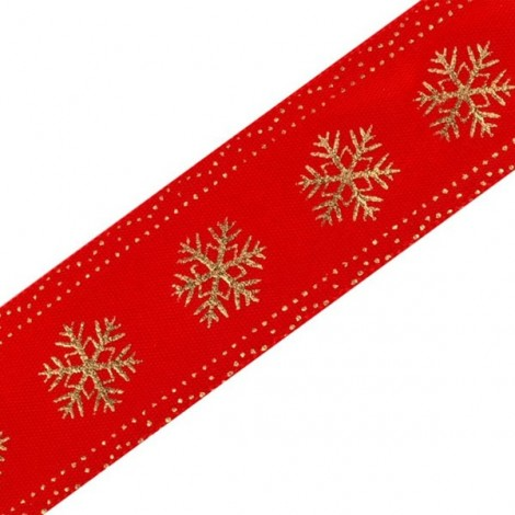 Szatén szalag, hópehely - piros