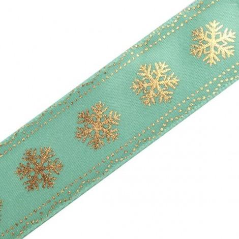 Satin Ribbon, Snowflakes - turquoise