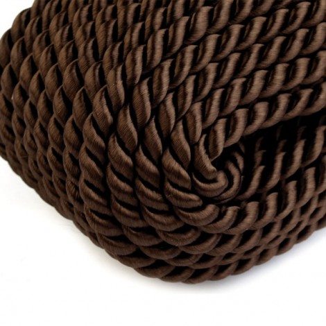 Satin twisted cord  - brown, Ø4mm