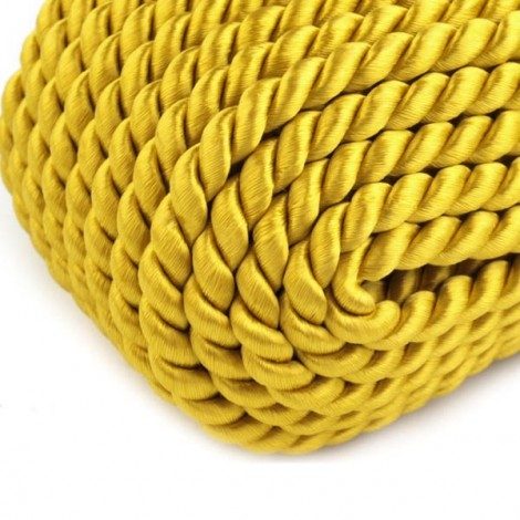 Satin twisted cord  - mustard yellow, Ø4mm
