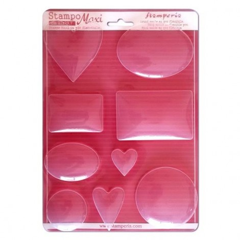 Soft PVC mould - A4 - Circle, oval and heart