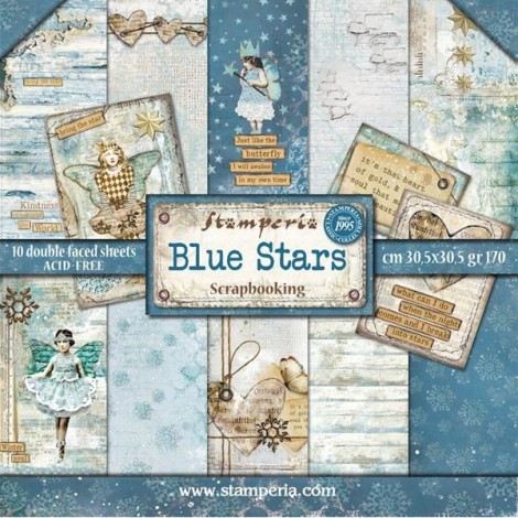 Scrapbook papír tömb - Blue Stars