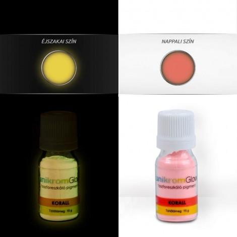 UnikromGlow foszforeszkáló festékpigment - korall (15g)