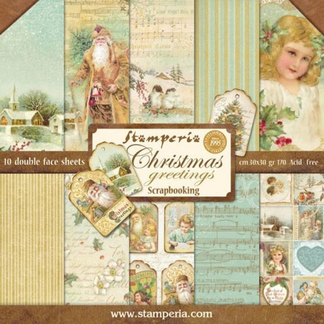Scrapbook papír tömb - Christmas greetings