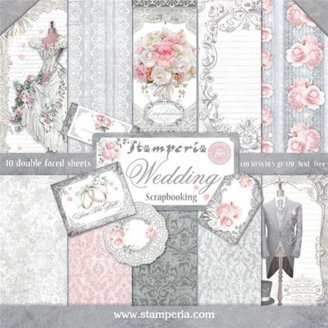 Scrapbook papír tömb - Wedding in Silver Collection