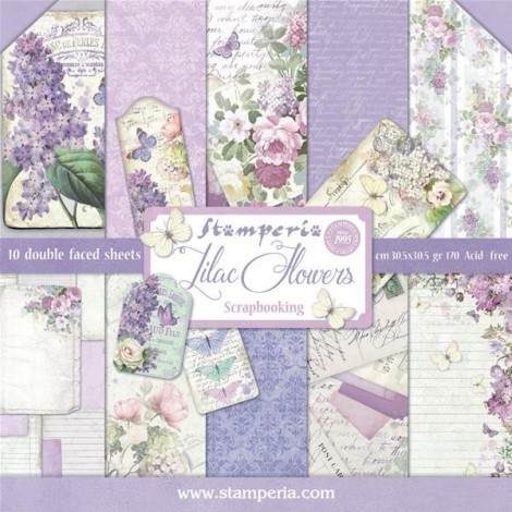Scrapbook papír tömb - Lilac Flowers Collection