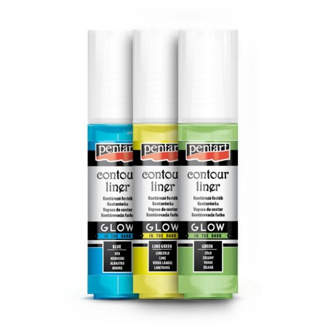 Pentart Contour liners, glow in the dark colours, 20 ml