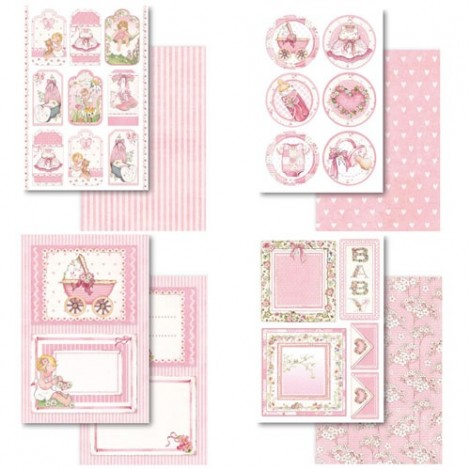 Scrapbooking Postcard Pad -  Baby Girl Paperpad Collection