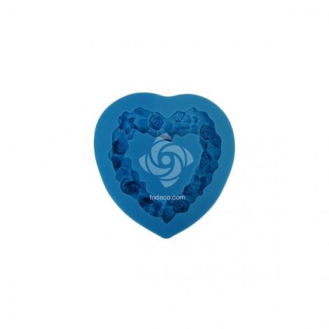 Szilikon forma, szív koszorú