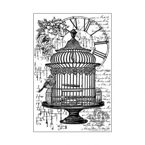 Rubber Stamp - Birdcage and clock