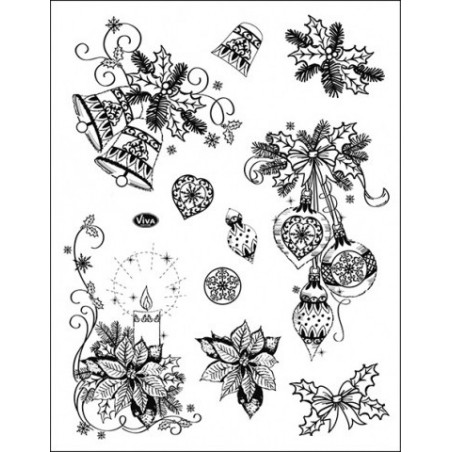 Clear Stamp Collection - Christmas Stockings & Twirls V-3071