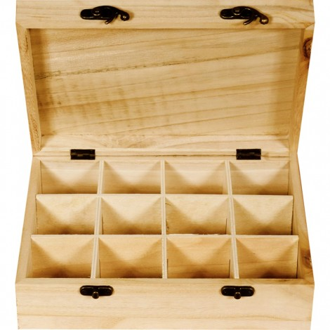 Wooden Tea Bag Organizer - 12 Sections