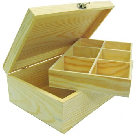 Wooden Tea Bag Organizer - 6 Sections