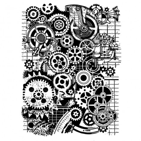 Mixed Media Rubber Stamp - Gears